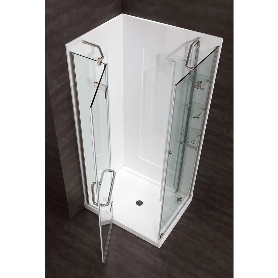 c6613c940aa Shop Ove Decors Savannah Brushed Nickel Rectangle 4-Piece Corner Shower Kit  (Actual  74-in x 40-in x 32-in) at Lowes.com