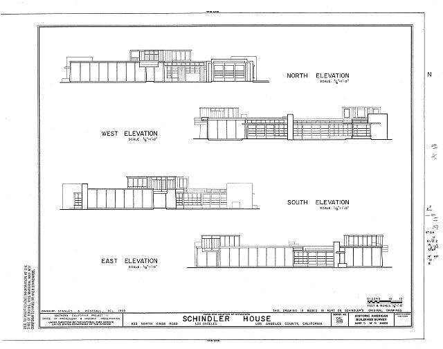 Habs Cal 19 Losan 68 Sheet 5 Of 6 Rudolph M Schindler House 833 North Kings Road Los Angeles Los Ang Schindler House House Floor Plans House Elevation