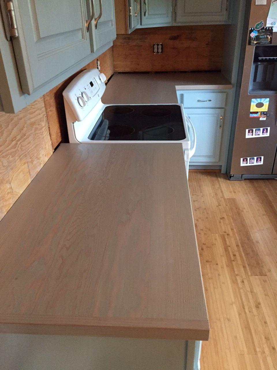2 X6 Douglas Fir Wood Countertop During Install Wood