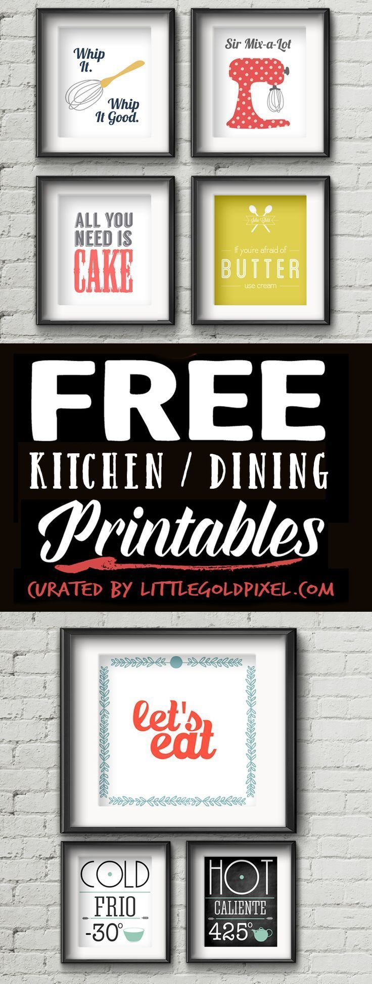 Free printables kitchen wall art u little gold pixel printables