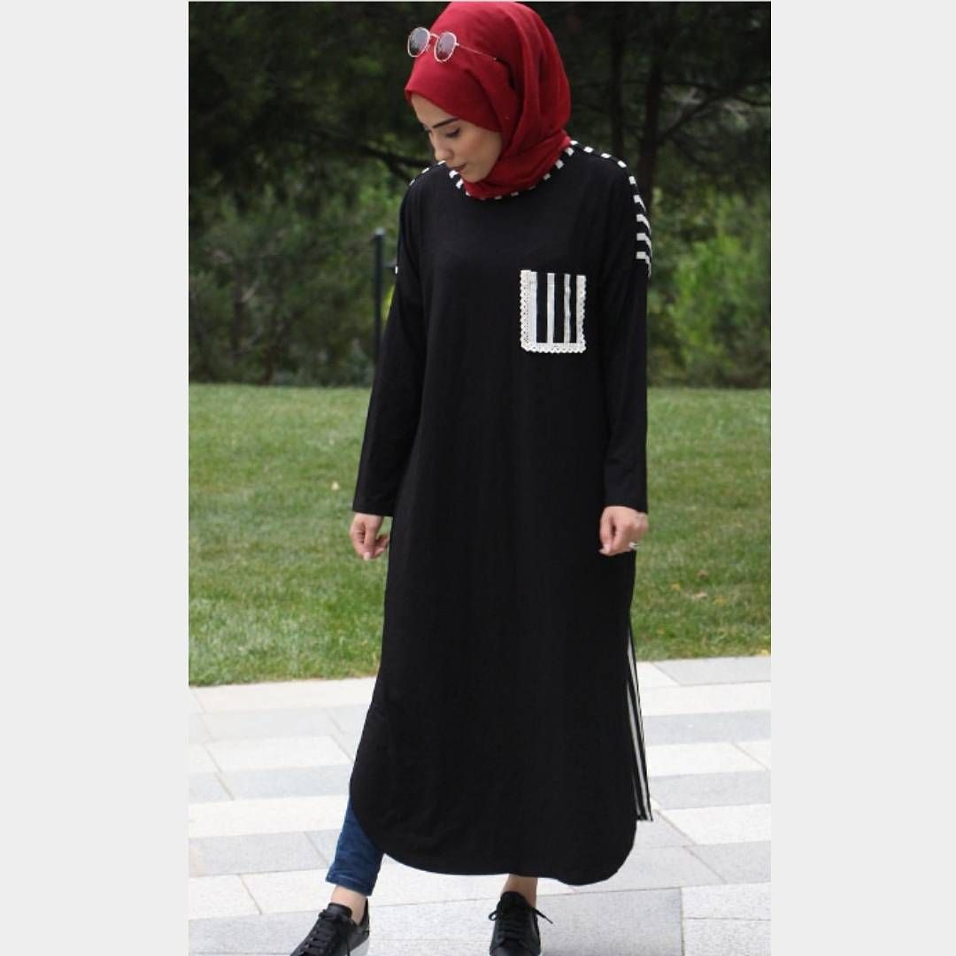 """Photo of Hoooq Store on Instagram: """"Sports & Stylish 36 -44 size fit✔ Fabric type; viscose ✔ Length 120 cm ✔ Does not show inside with longitudinal stripes on the back #tesettur # dress # tunic… """""""