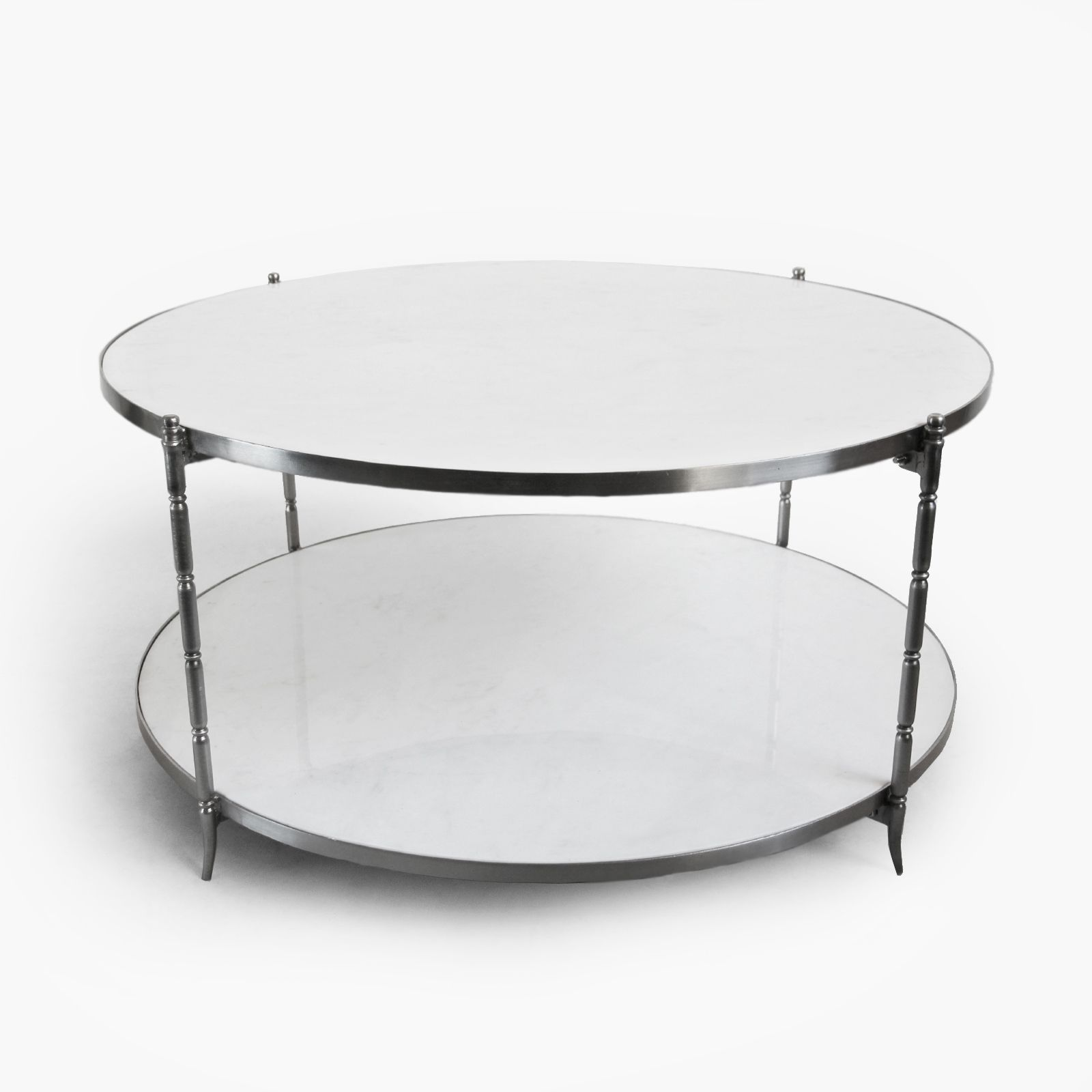 Beautiful Modern White Marble Round Coffee Table With Brushed Nickel Legs Supporting Two Coffee Table Marble Round Coffee Table Round White Marble Coffee Table