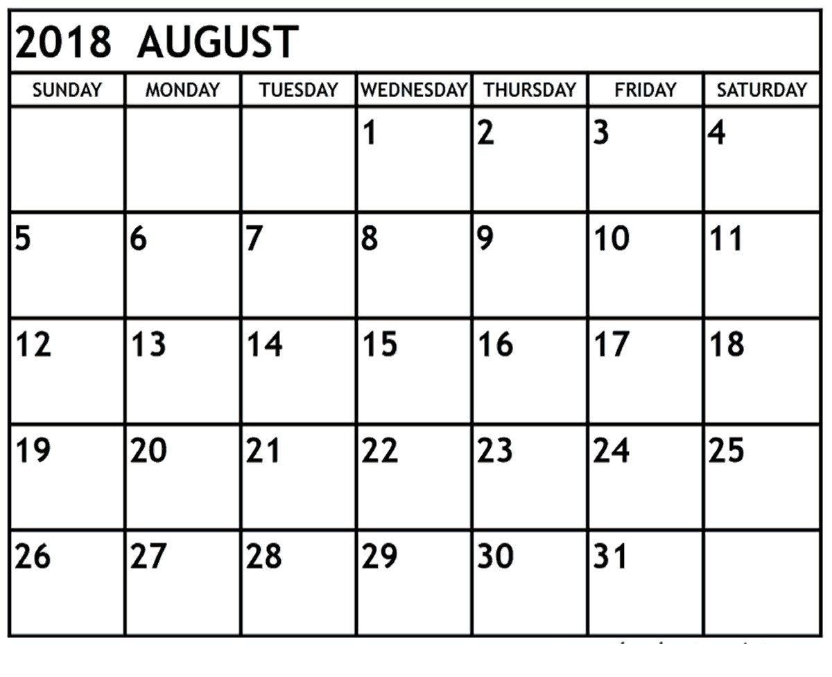 Blank August 2018 Calendar November calendar, Monthly