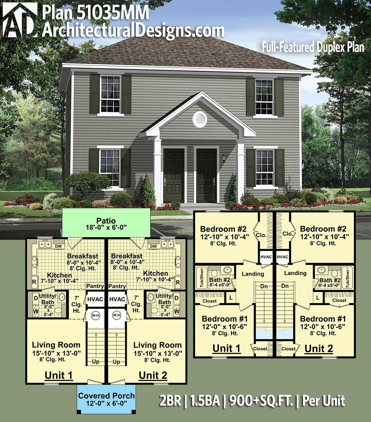 Plan 51035mm Full Featured Duplex Plan In 2020 Duplex Plans Family House Plans Townhouse Designs