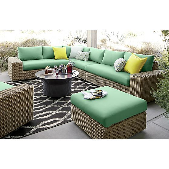 Newport Modular Armless Chair With Sunbrella® Bottle Green Cushions
