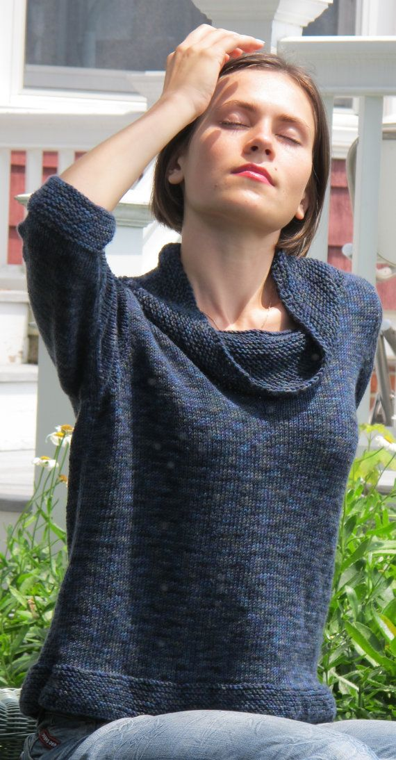 Comfy Cowl Neck Pullover, knitted in stockinette stitch from the ...