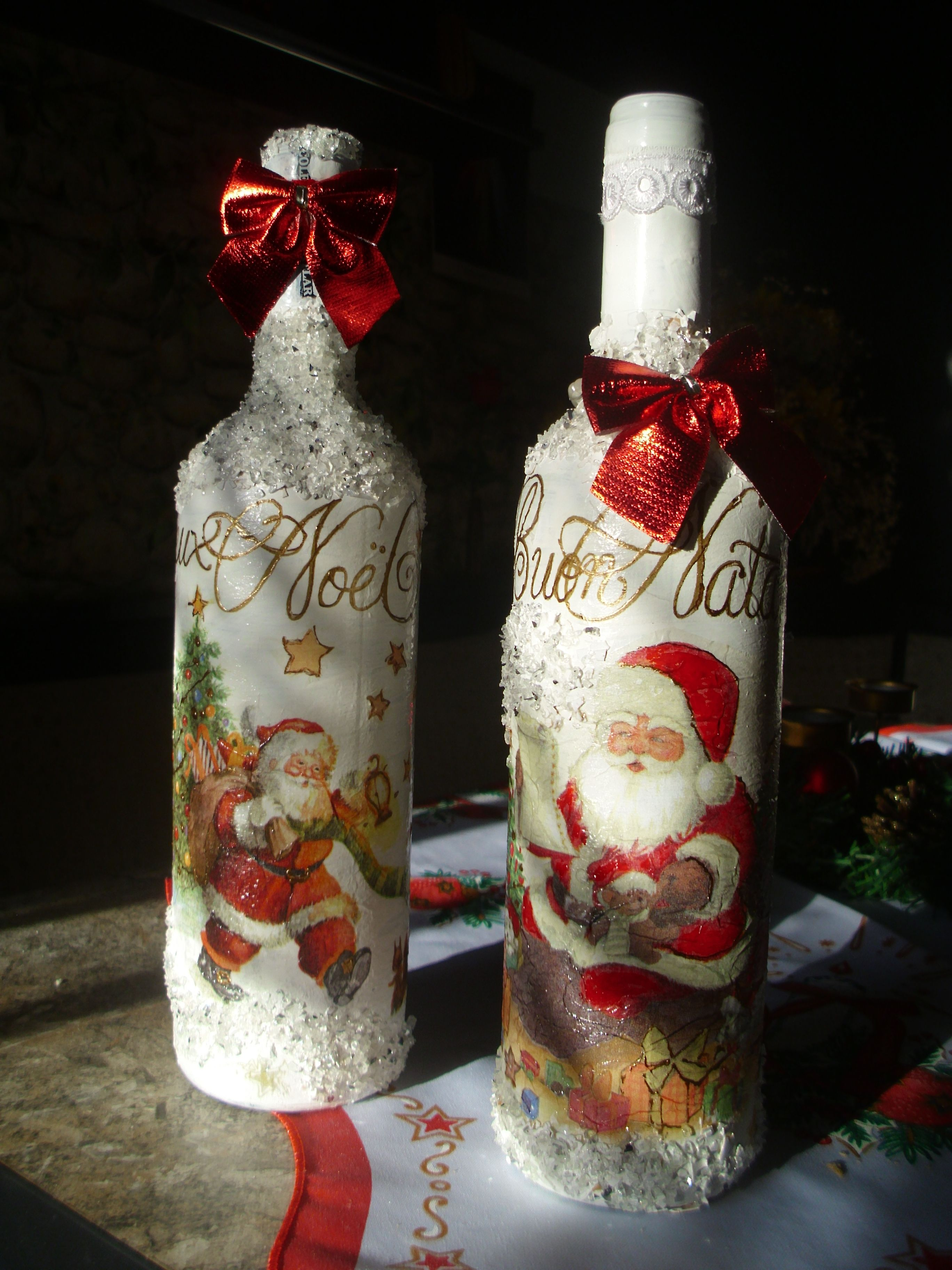 Bottles for christmas celebration decoupage botellas vidrio e botella navide a - Botellas decoradas navidenas ...