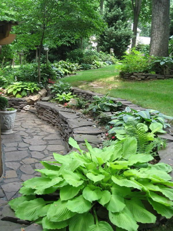 Steinerne Mauer Im Garten Gestalten Schatten Stufen Und Sitzecke