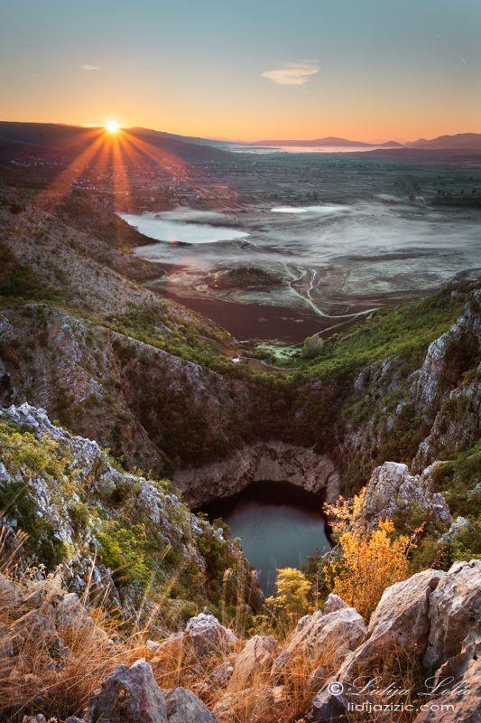 Sunrise at field of Imotski, Croatia