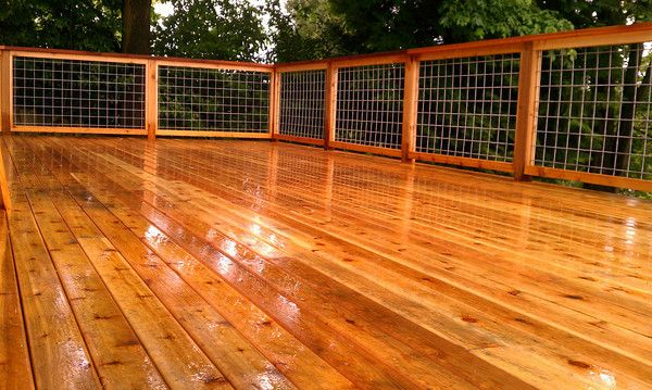 all western red cedar with 4x4 welded wire fence panels