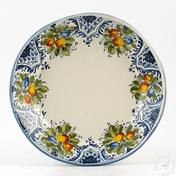 Hand Painted Italian Ceramic Dinner Plate irregular shape Frutta Blu - Handmade in Montelupo Tuscany  sc 1 st  Pinterest & Italian Dinnerware \u003c Montelupo ceramics: Ceramiche Ammannati ...