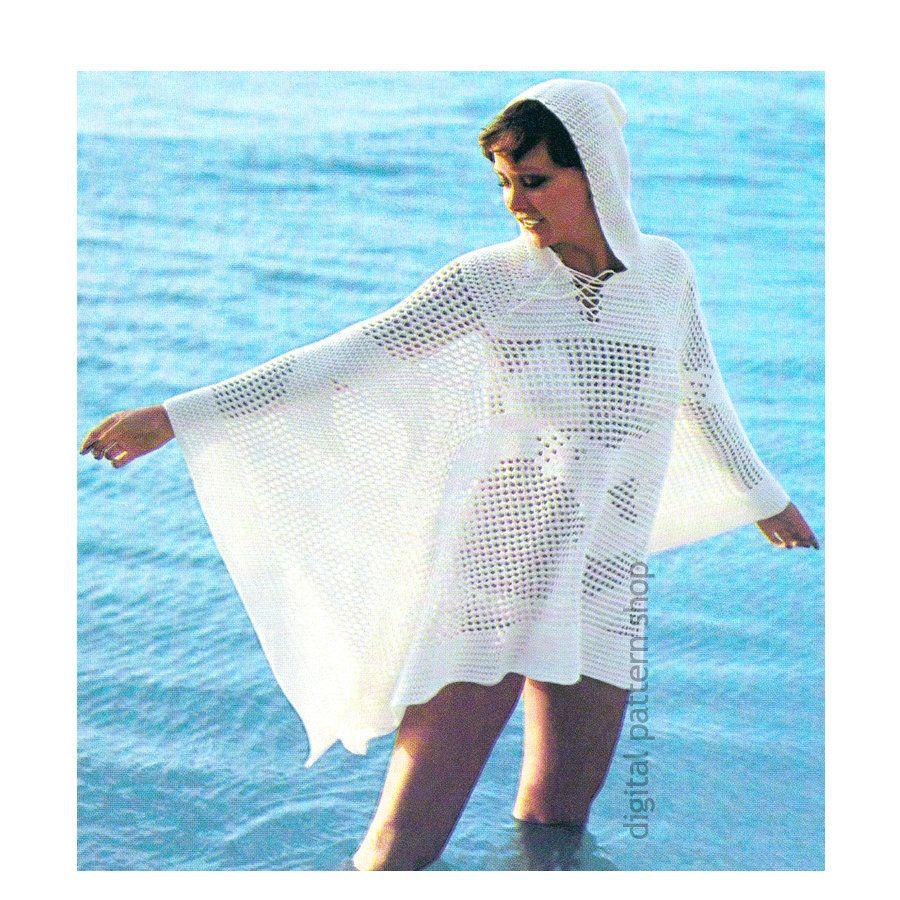 Hooded Beach Cover Up Crochet Pattern, Hoodie Beach Poncho Pattern ...