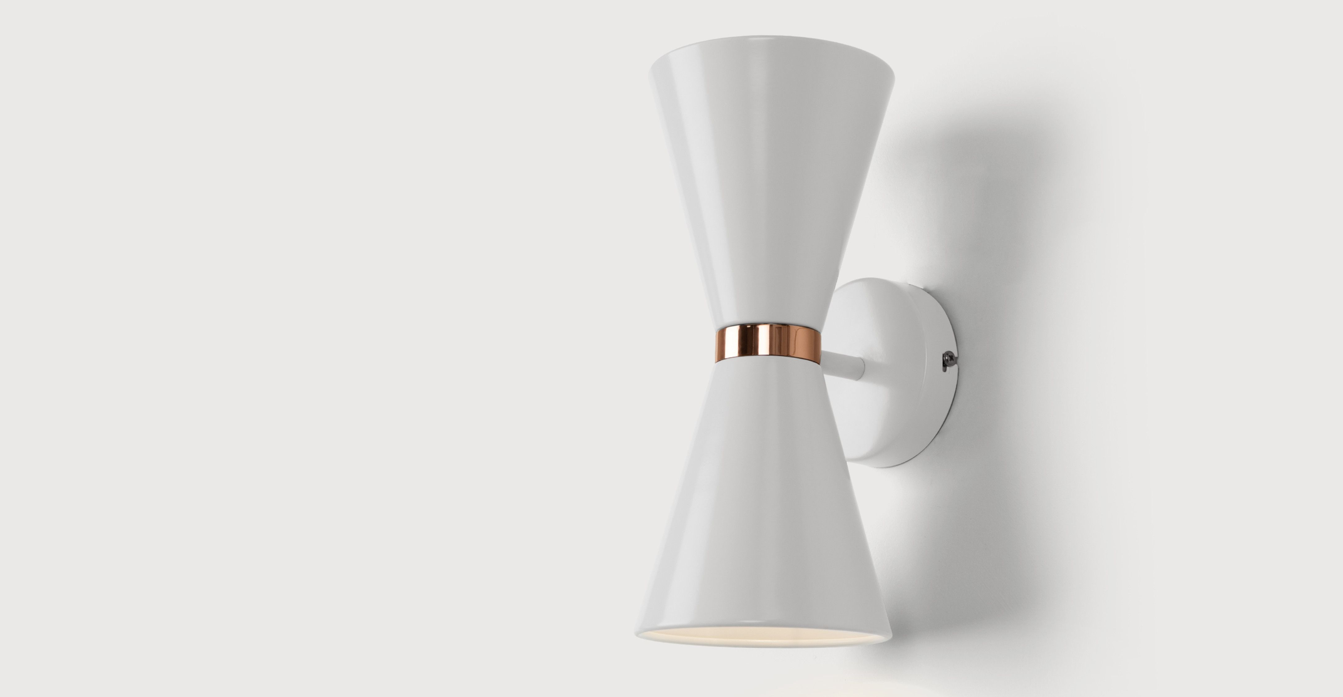 Ogilvy Wall Lamp, Matt Soft Grey and Copper | made.com