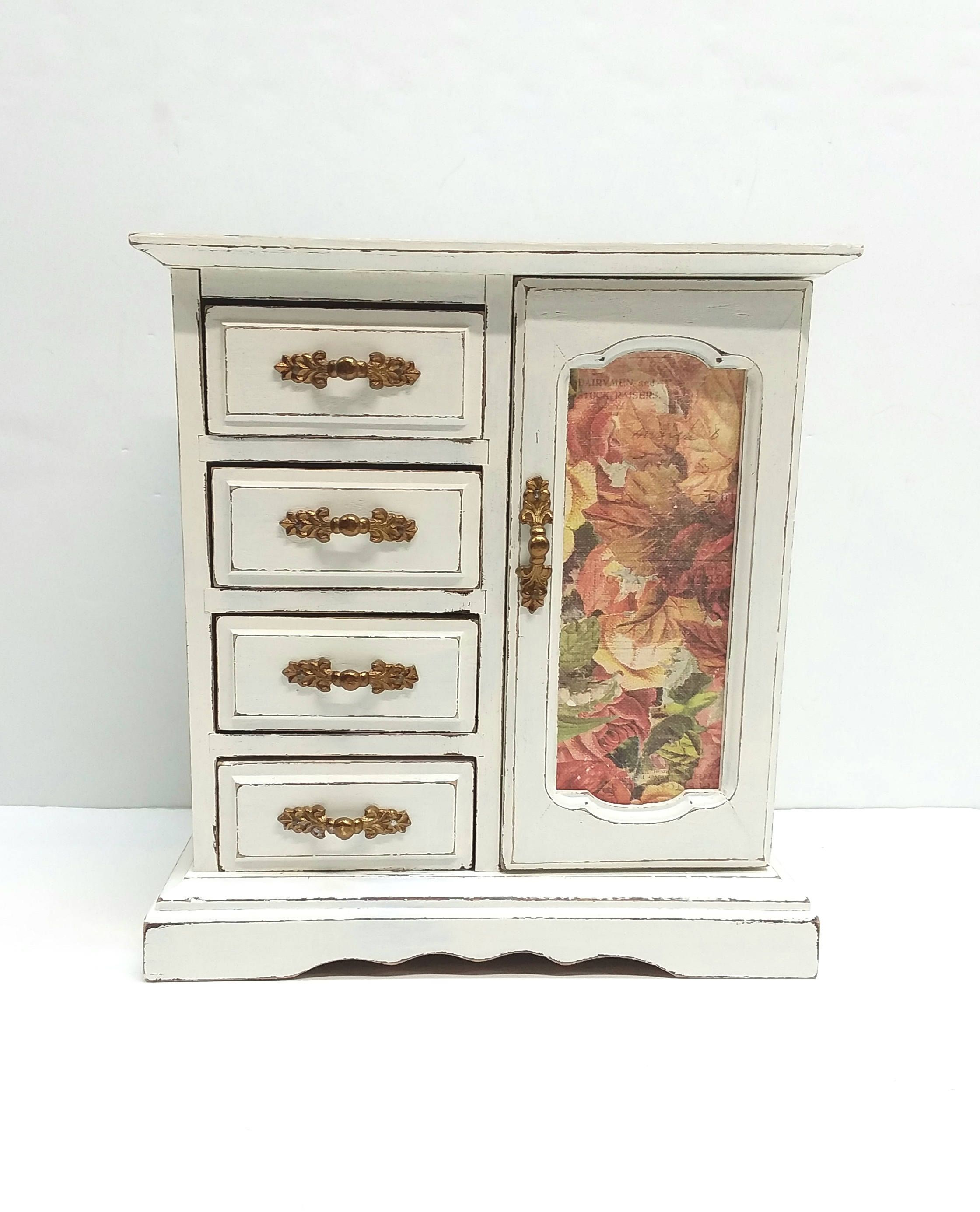 Rustic Jewelry Armoire Shabby Chic Vintage Jewelry Armoire And Music Box Painted Antique