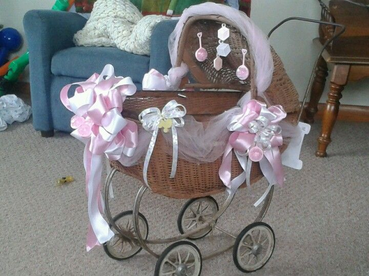 Antique toy baby buggie for baby shower