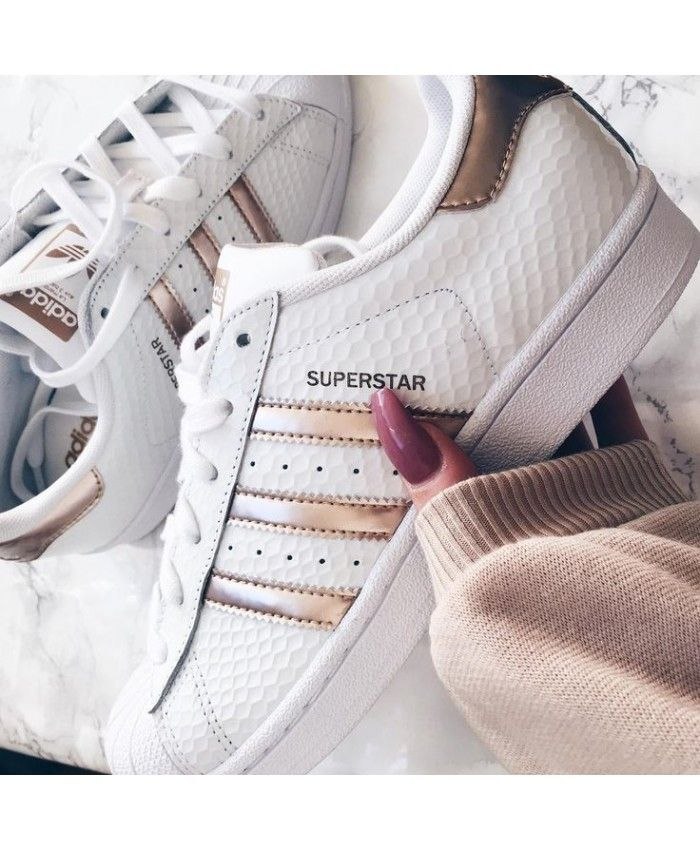 e87cf8fb24ec Adidas Superstar Rose Gold Stripes White Shoes Sale UK