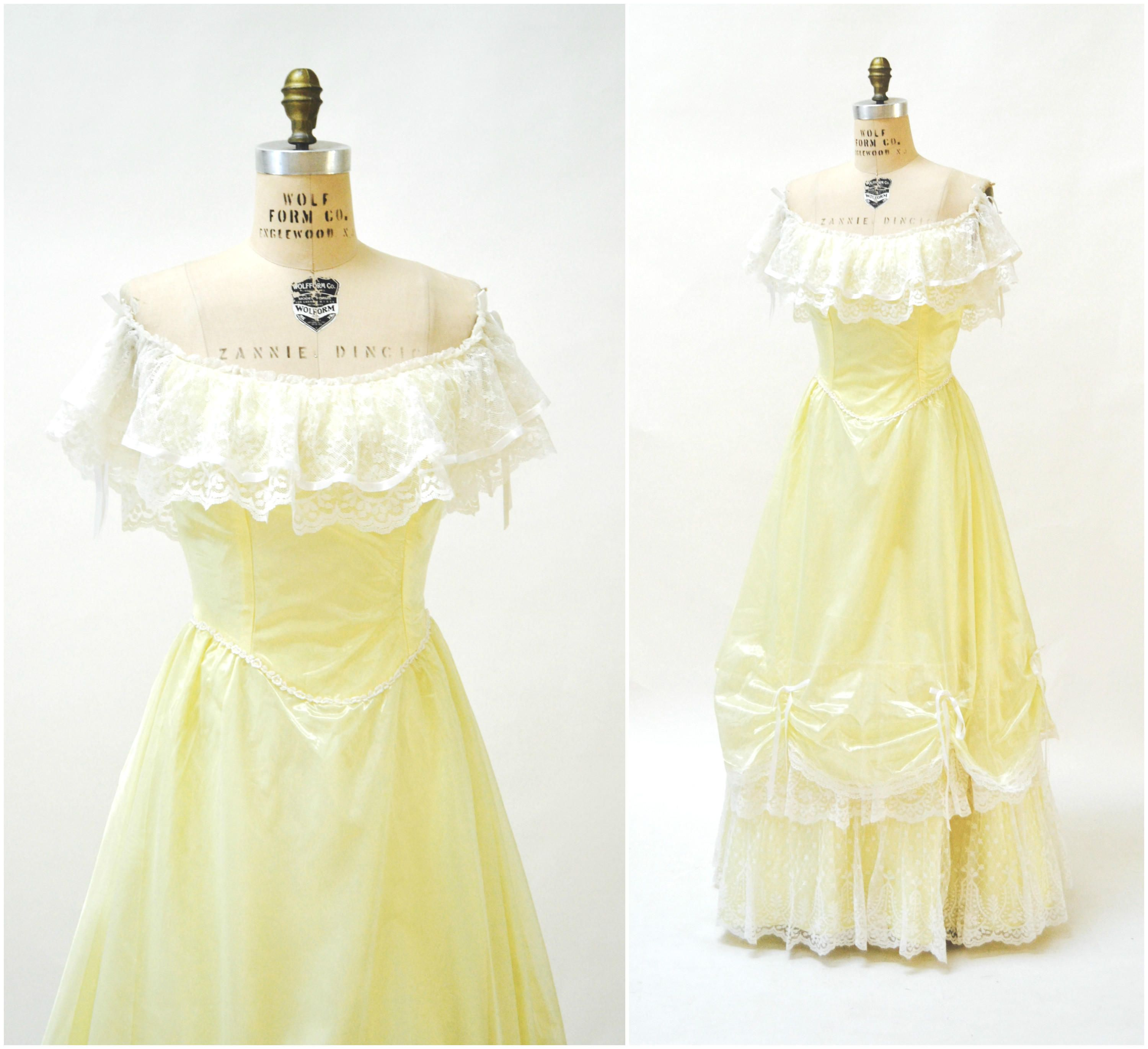 Vintage 80s Prom Dress Medium Yellow White Lace Bell Princess Costume Beauty And The Beast 80s Sou Vintage Ball Gowns Red Prom Dress Long Unique Prom Dresses [ 2740 x 3000 Pixel ]