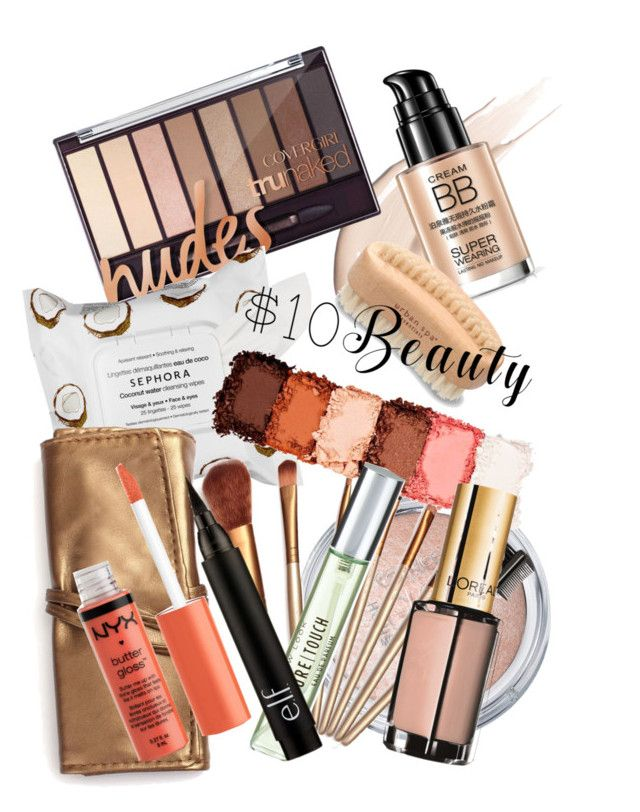 """""""$10 beauty"""" by annbaker ❤ liked on Polyvore featuring beauty, Urban Spa, Sephora Collection, NYX, New Look and L'Oréal Paris"""