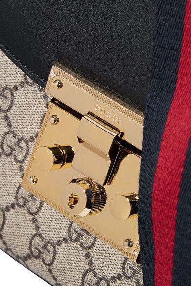 Gucci - Padlock Saddle Medium Leather-trimmed Coated-canvas Shoulder Bag - Beige - one size