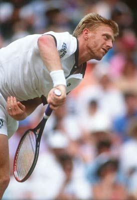 Boris Becker Powering In His Legendary Serve Tennis Players Sporting Legends Play Tennis