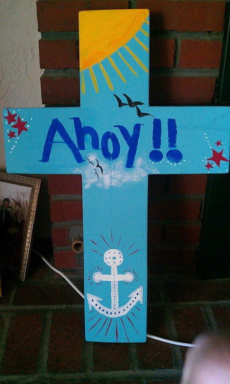 Nautical theme hand painted cross