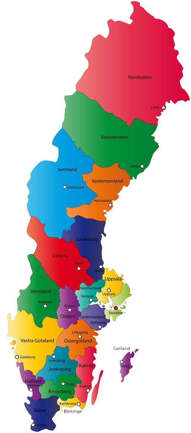 Mapa Politico De Suecia.Provincias Suecia Destinos Suecia Finlandia Y Noruega