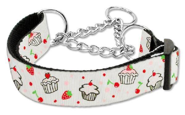 Cupcake Martingale Dog Pet Collars Medium White