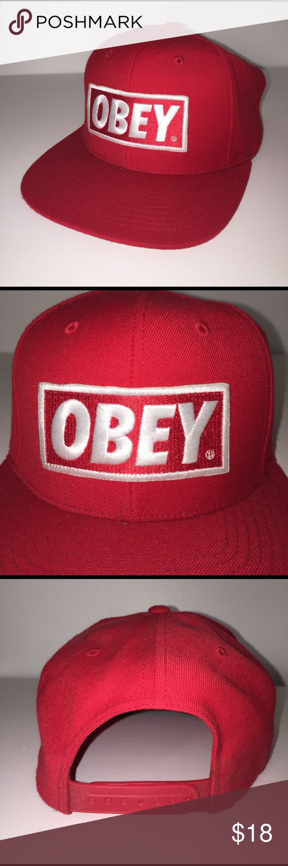 Obey Red Snapback Hat Snapback Hats Urban Outfitters Accessories Hats