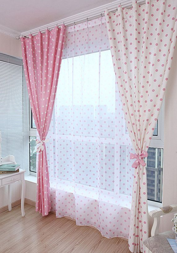White Or Pink Polka Dot Curtain Panel Made To By Hookoncurtains