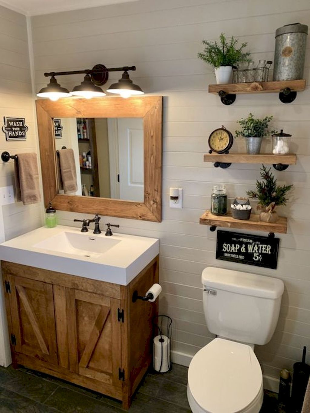 50 Stunning Farmhouse Bathroom Remodel Ideas On A Budget - HomeIdeas.co