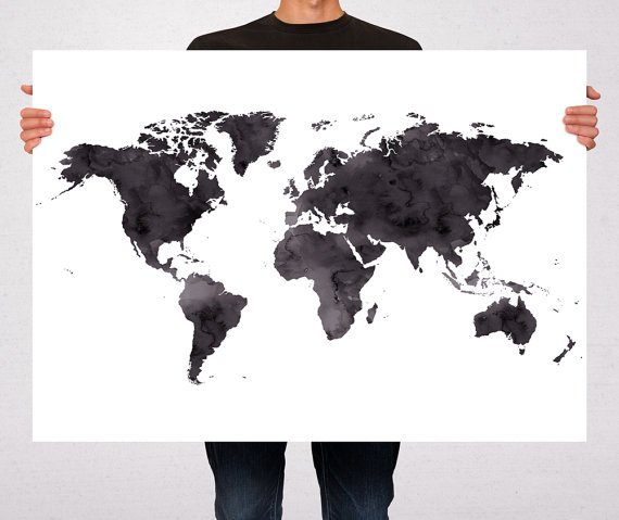 World map poster watercolor art print poster black watercolor world map poster watercolor art print poster black watercolor travel gift wall hanging gumiabroncs Images