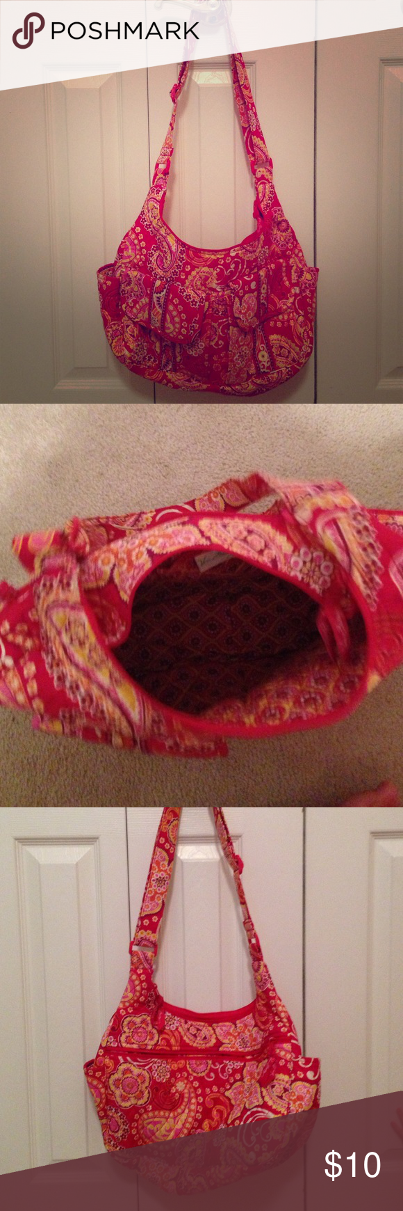 Vera Bradley Hobo bag Used Vera Bradley hobo bag.  Has some wear on it, but no tears - which is the reason I've priced it at $10.  Bag is a good everyday purse.  In a smoke free home. Vera Bradley Bags Hobos