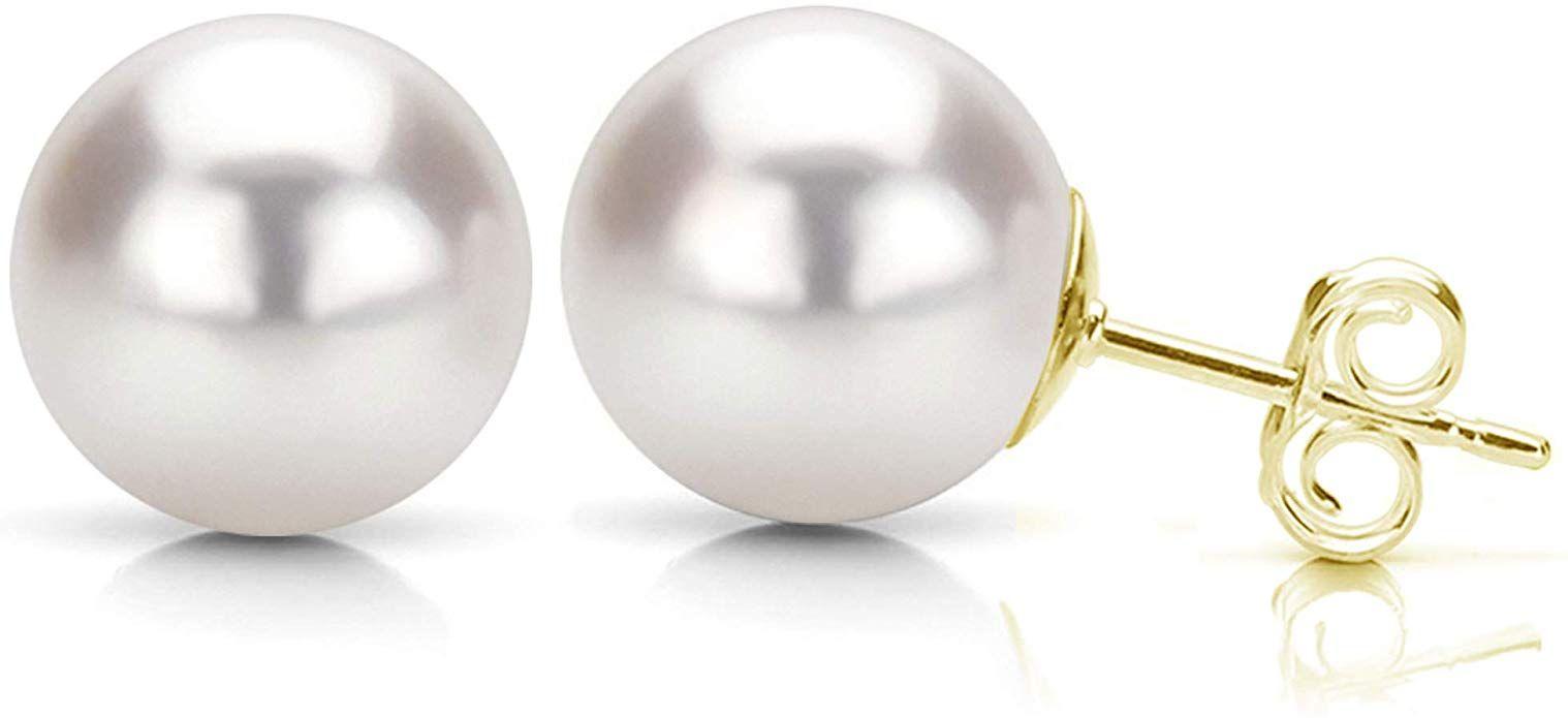 Mia Diamonds 14k Yellow Gold 9-10mm Grey Round FW Cultured Pearl Stud Earrings