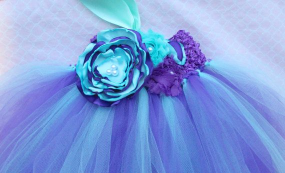 Gorgeous Aqua Purple Lavender Tutu Dress Under the Sea Mermaid Tutu Dress for Baby Girl 6-18 Months old First Birthday