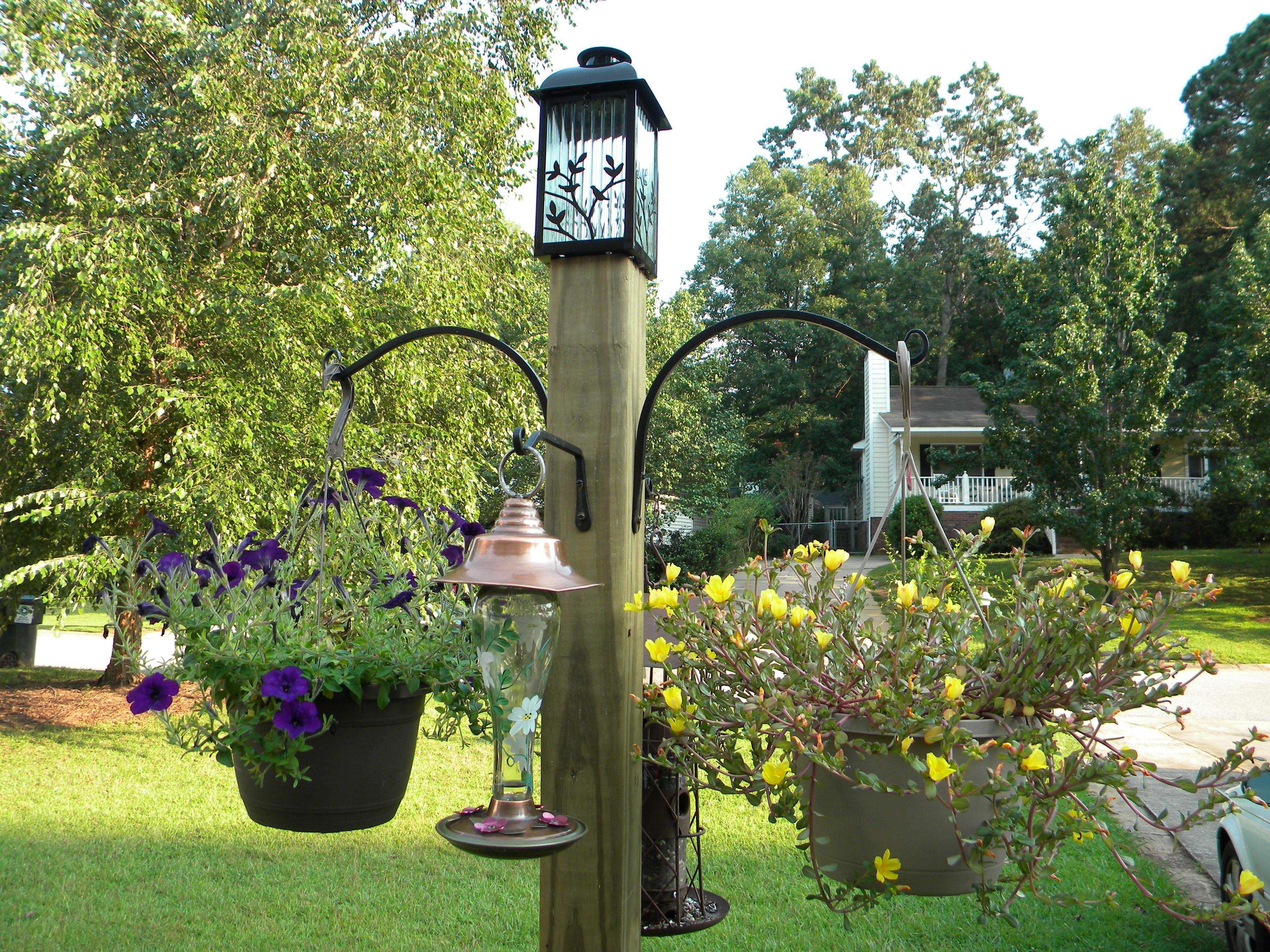 plant pole bird freestanding feeder light basket hooks and hanging pin diy flower post solar garden