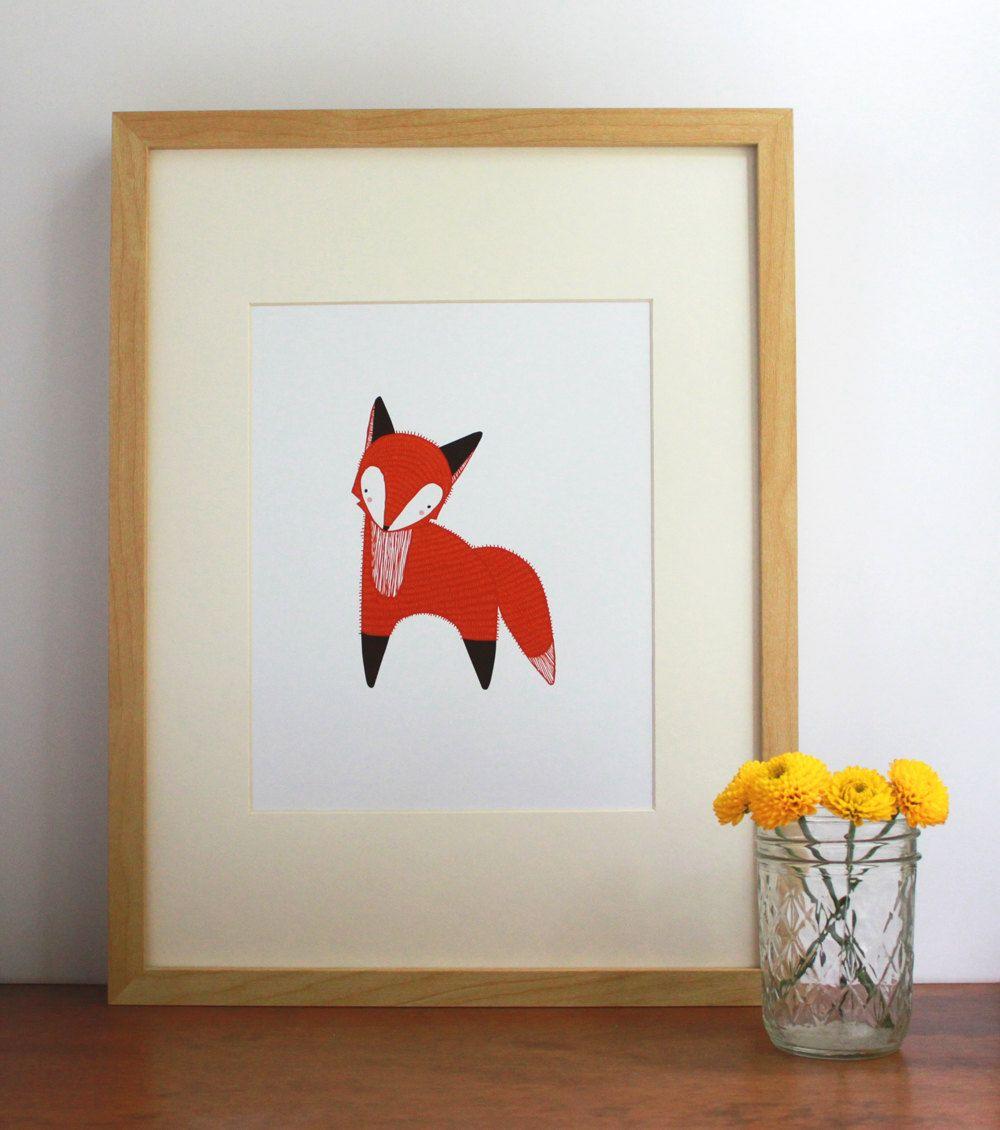 October Little Fox Illustration, Fox Art Print, Nursery Art, Children Decor, Fox Art, Orange Fox Art - Free US Shipping. $23.00, via Etsy.