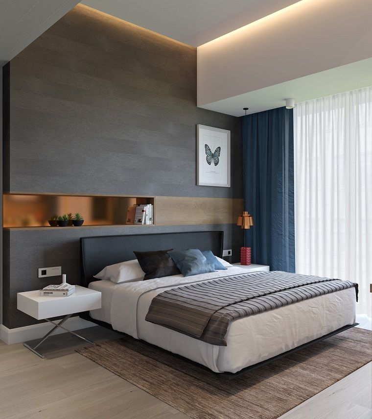 dormitorio para solteros en colores elegantes y modernos Alcobas