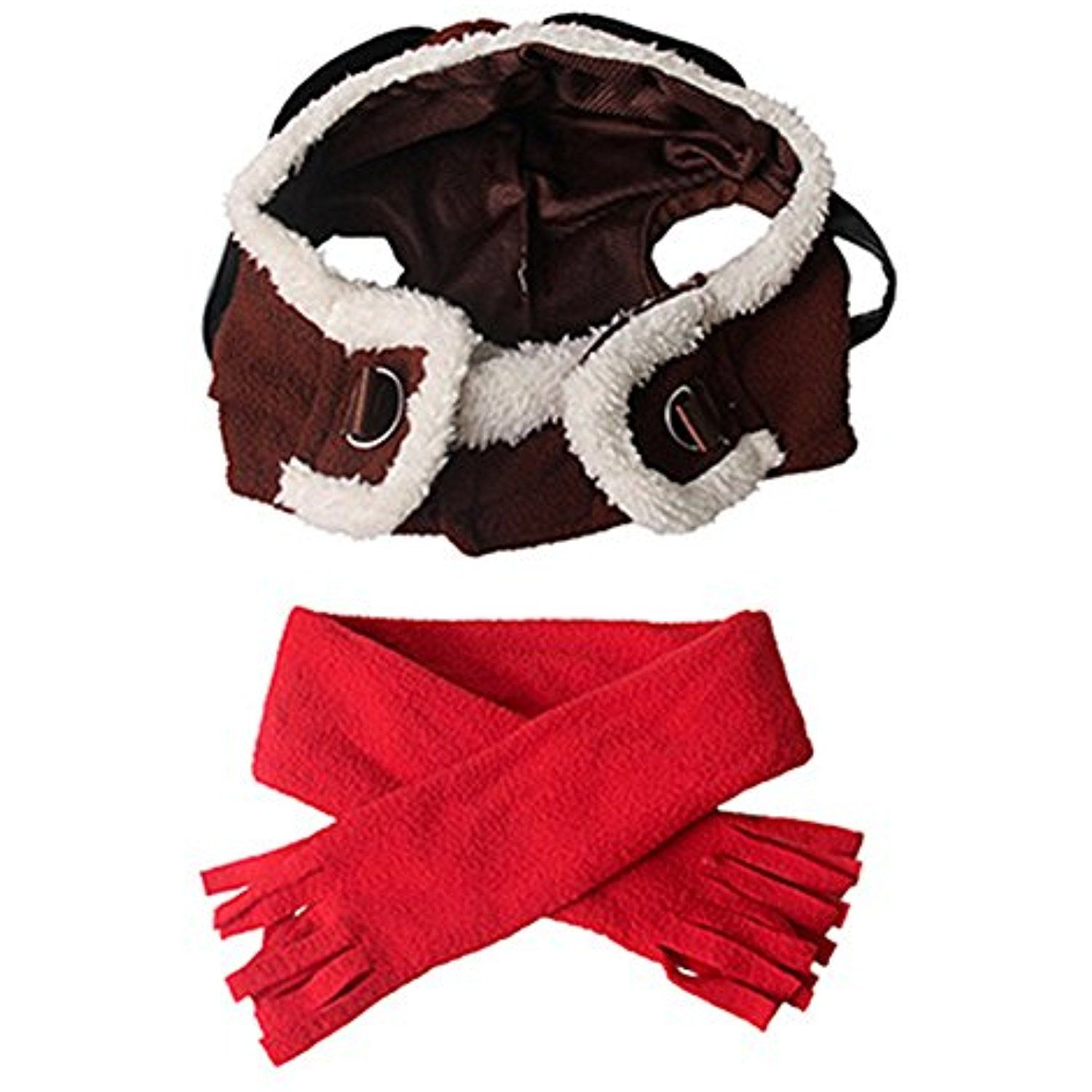 MaiYi Pet Cosplay Pilot Hat and Scarf Set Dog Cat Winter Christmas