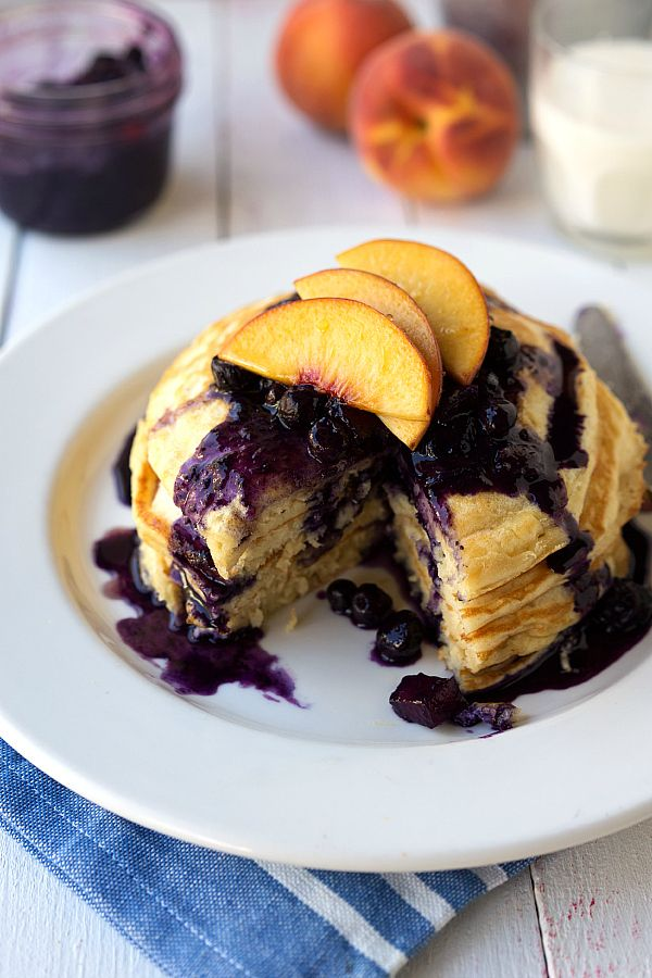 Healthy Greek Yogurt Pancakes with Blueberry Peach Syrup (all fruit)