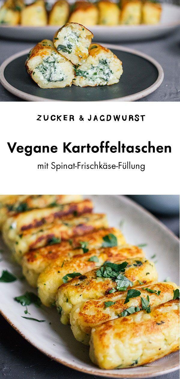 Vegane Kartoffeltaschen mit Spinat-Frischkäse-Füllung #veganerezepte