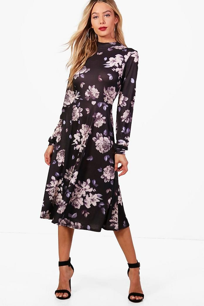 Boohoo High Neck Volume Sleeve Floral Midi Dress Buy Cheap Websites Sale Low Price kIgkCaescE