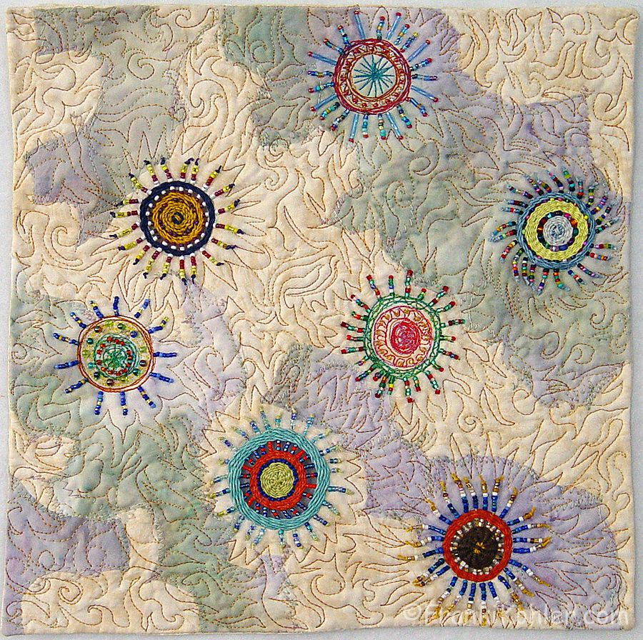 Different View III by Mayann Weinberg. Beaded quilt. 2012 SAQA Auction.  Posted by Franki Kohler
