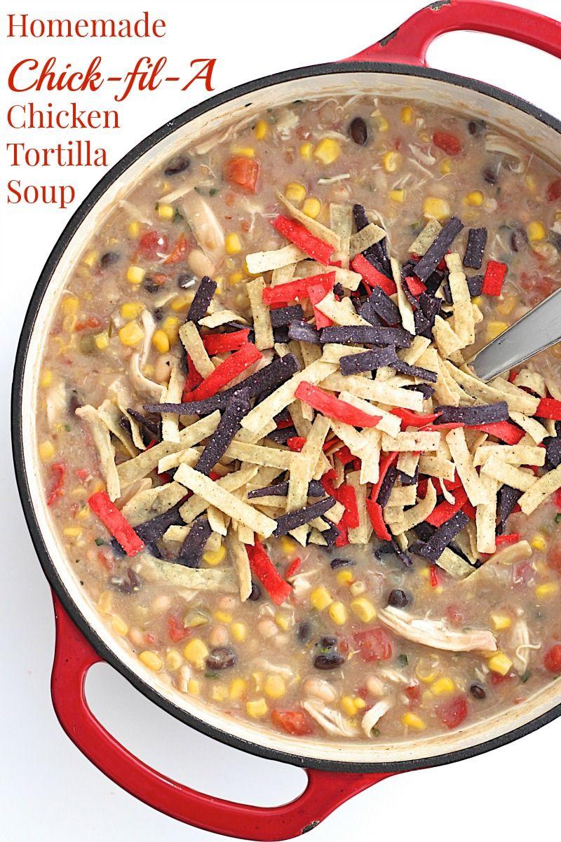 homemade chickfila chicken tortilla soup  caldos