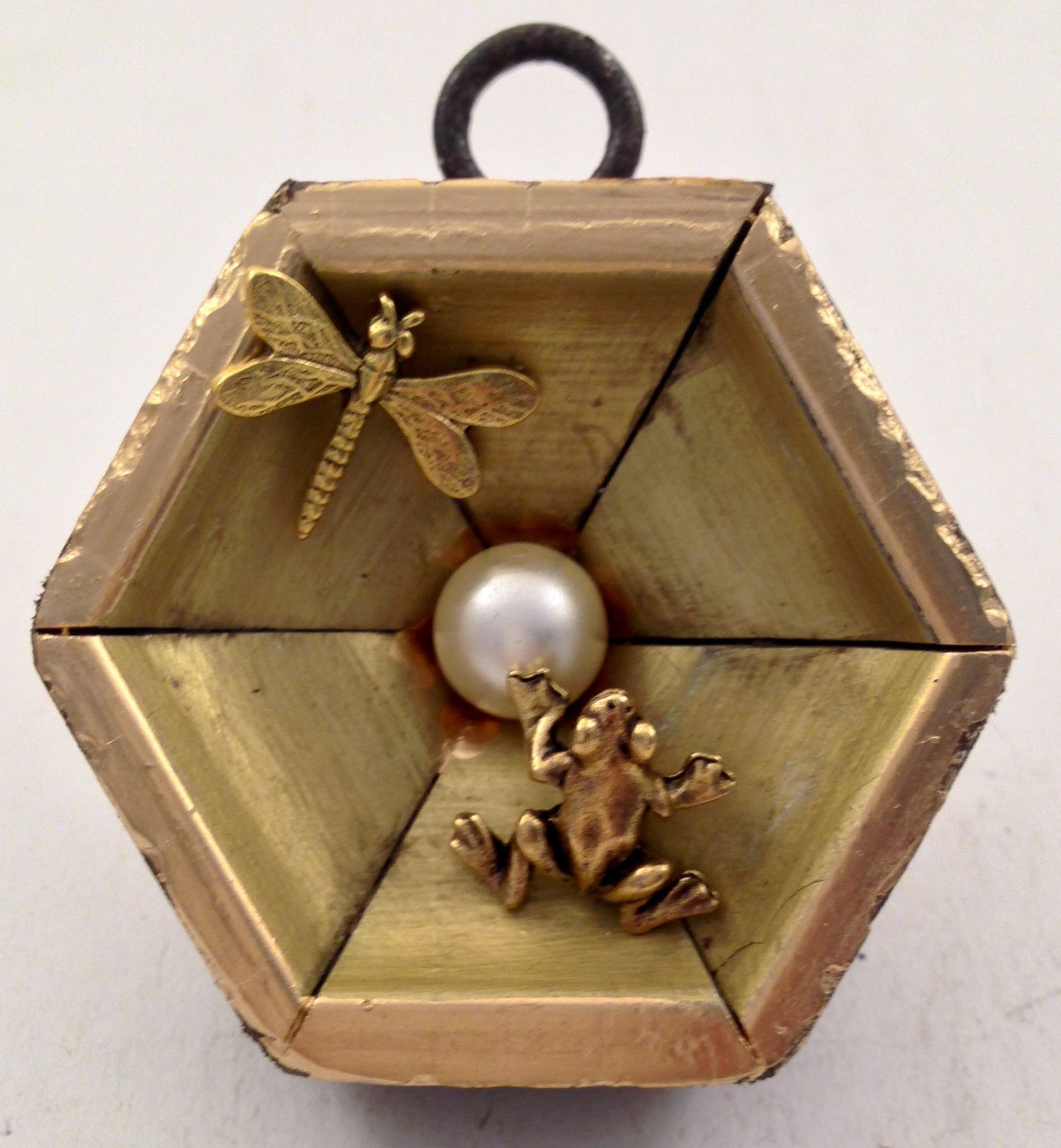 Hexagonal Gilt Frame with Pearl, Dragonfly, and Frog