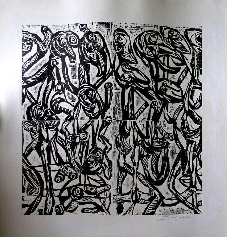 Saatchi Online Artist JOSE HUGO SANCHEZ Woodcut Printmaking The Dancers