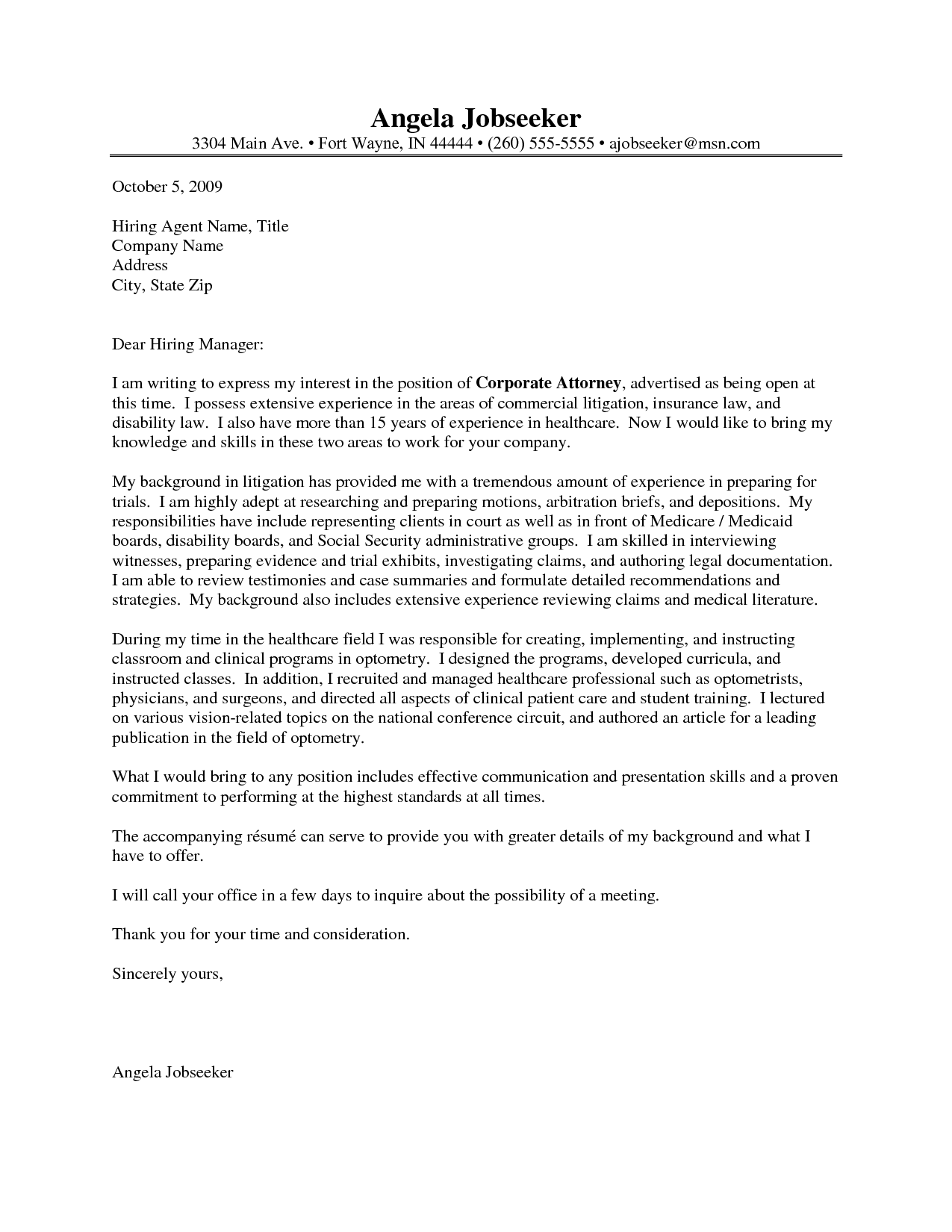 Cover Letter Template Legal | Cover letter example, Cover ...