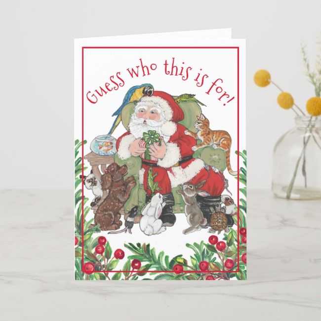 Whimsical Christmas Santa Pet Animal Dog Cat Bunny Holiday Card