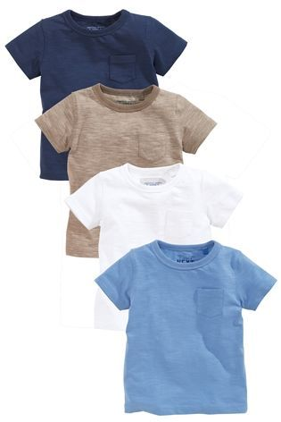 19e022eab65 Buy Blue Plain Short Sleeve T-Shirts Four Pack (3mths-6yrs) from the Next UK  online shop