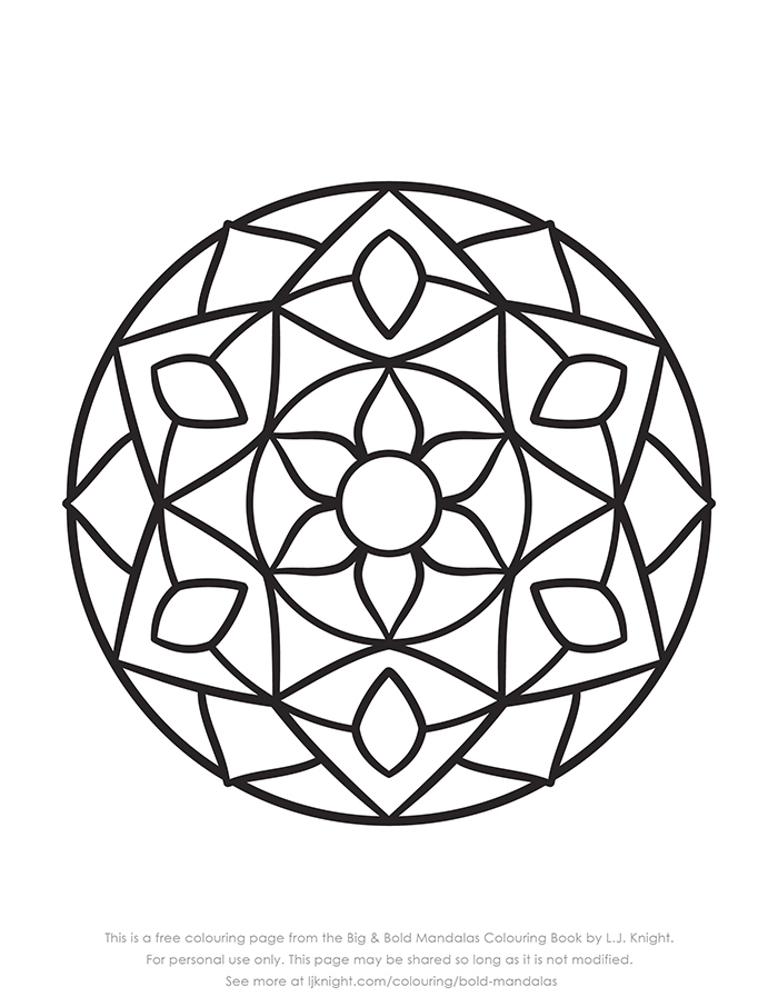 Free Easy Bold Mandala Colouring Page Mandala Coloring Pages Mandala Coloring Abstract Coloring Pages