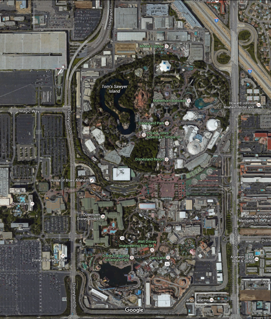 Aerial View Of The Disneyland Resort Disneyland And Disney - Disneyland usa location map
